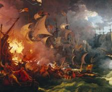 Left: Defeat of the Spanish Armada by Philip James de Loutherbourg. Right: King Philip II of Spain | Public Domain | Wikipedia