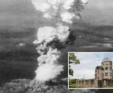 Mushroom cloud billowing above Hiroshima and the Genbaku Dome, the only intact building remaining after the bombing