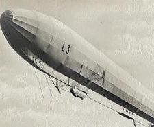 Damage from a Zeppelin raid, Great Yarmouth, January 1915 (left), an L3 Zeppelin