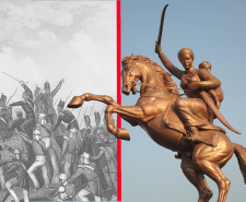 Statue of Lakshmi Bai (right) and the Assault of Delhi (left)