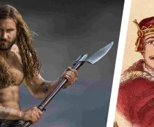 Rollo, played by Clive Standen in Vikings, alongside a portrait of William the Conqueror, his great great great grandson.