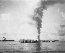 The USS Mississinewa was the first to be hit by a Japanese Kaiten manned torpedo.