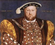 (Left) Henry VIII in a 1540 portrait by Holbein, (Right) the remains of the Mary Rose's hull