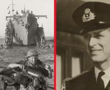 Left. Infantry from the 51st Highland Division wade ashore, Sicily 10 July 1943   Public Domain. Right Prince Phillip in 1951 by Verbcatcher    Creative Commons   Wikimedia