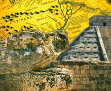 A stylised photo of Chichén Itzá in Mérida, Mexico