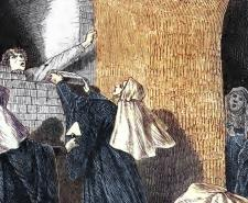 A nun being bricked up behind a wall as punishment