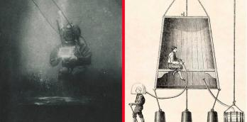 1899 underwater  photo of oceanographer Emil Racoviță (left), Edmond Halley's diving bell (right)