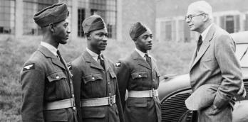 Left to right: AC W P Ince of British Guiana, AC E Johnson of Jamaica and AC S E Johnson of Jamaica) during a passing out parade of West Indians at a Royal Air Force station in Yorkshire | Public Domain | Wikipedia