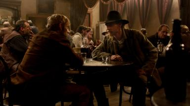 Jesse James (right) as depicted in Robert Redford's American West