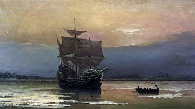 Mayflower in Plymouth Harbor, by William Halsall | Wikipedia