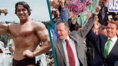 Arnold Schwarzenegger and George Bush Sr. on the campaign trail.