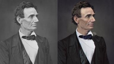 Marina Amaral's colourised photograph of Abraham Lincoln.