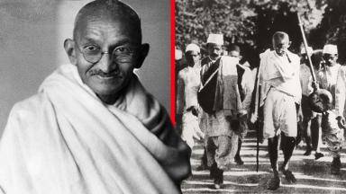 Mahatma Gandhi and left Gandhi leading the Salt March, 1930