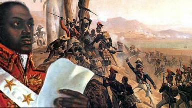 Portrait of Toussaint Louverture, foreground and painting 'The Battle at San Domingo' by January Suchodolski, background