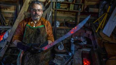 Rob Hughes holds up his Pirate Cutlass which features in this week's Forged in Britain