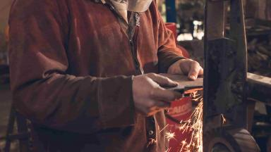 Forged in Britain's Alec Steele working at his forge