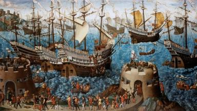 The Embarkation of Henry VIII at Dover, 1540 the vessels depicted in the painting are decorated with wooden panels similar to those of the Mary Rose