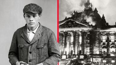The Reichstag Fire considered as a False Flag operation by the Nazis was blamed on communist sympathiser Marinus van de Lubbe, left