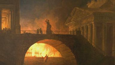 Image | Fire in Rome by Hubert Robert.