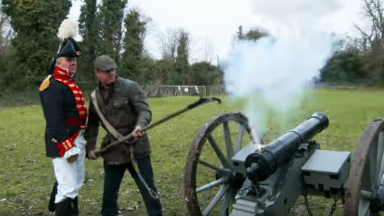In the cannon firing line