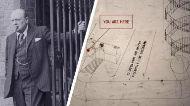 Winston Churchill left, pictured next to a map of the Down Street underground station which played an important role during WW2 becoming a bomb shelter.