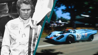 Steve McQueen, alongside the Porsche Gulf 917 the car he drove in Le Mans.