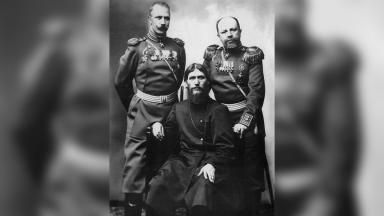 Grigory Rasputin, Major General Putyatin and Colonel Loman   Public Domain   Wikimedia
