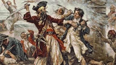 Capture of the Pirate, Blackbeard, 1718, Jean Leon Gerome Ferris, painted in 1920 | Public Domain
