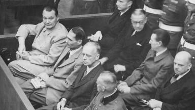 Nuremberg Trials. Defendants in their dock, circa 1945-1946, Herman Göring left | Wikipedia |Public Domain