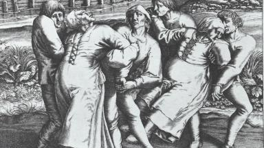 An engraving by Pieter Brueghel the Elder showing three women afflicted with the plague | Wikipedia | Public Domain