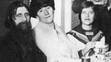Rasputin with his wife and daughter