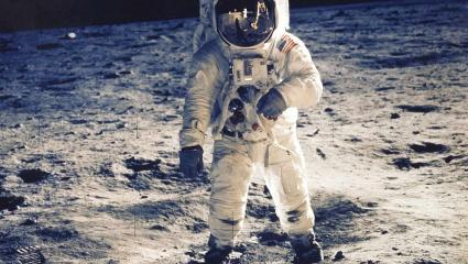 Buzz Aldrin, one of three on board Apollo 11 is pictured walking on the moon.