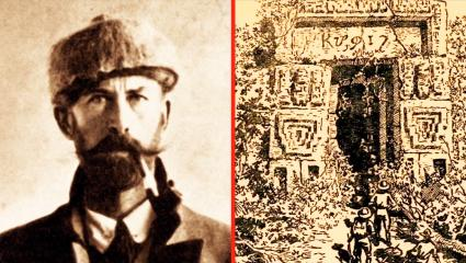 A photograph showing an explorer and the lost city of Z