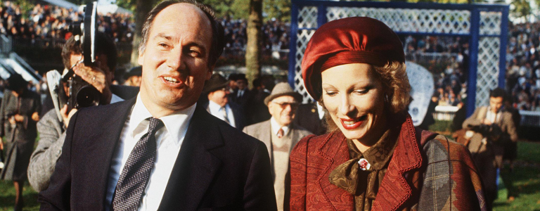 Prince Karim Aga Khan, religious leader and imam of 50 million followers worldwide, arrive with his wife, the Begum Salimah, at the ' Prix de l'Arc de Triomphe' horse race in Paris 04 October 1982.
