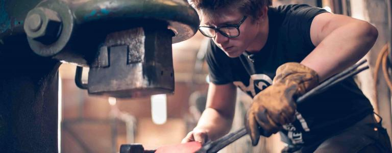 Forged in Britain's Alec Steele showing HISTORY his forge
