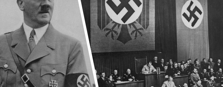 Adolf Hitler speaks at the Reichstag in Berlin, Germany, March 1936.