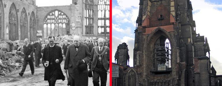 Churchill visiting the ruins of Coventry Cathedral and St Nicholas' Hamburg as it is today
