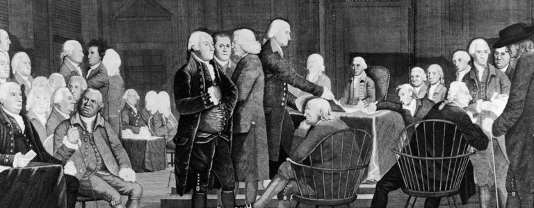 Members of the Second Continental Congress prepare documentation for the Declaration of Independence in the Assembly Room of the Pennsylvania State House, Philadelphia, Pennsylvania, July 2, 1776.