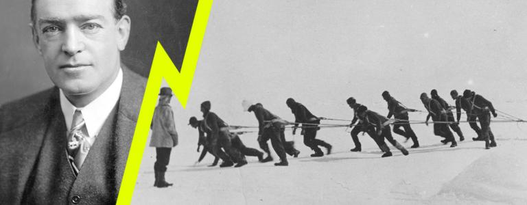 Ernest Shackleton left, and members of his expedition team pull one of their lifeboats across the snow in the Antarctic.