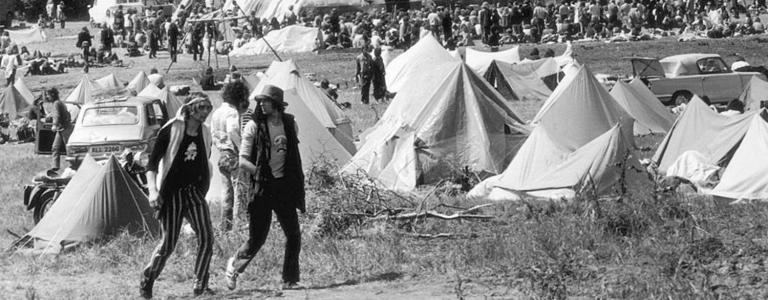 Image of the first Glastonbury Fayre in 1971, nice hat!