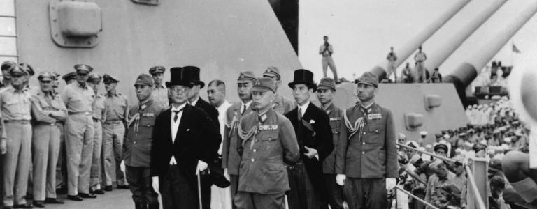 2nd September 1945: The Japanese delegation lead by Mamoru Shigemitsu (front row, L) and Yoshijiro Umezu (front row, R) arrives on board the USS Missouri in Tokyo Bay, to sign the Instrument of Surrender (Getty)