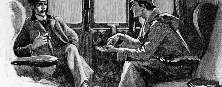 Dr Watson, who would be turning 165 today, and Sherlock Holmes travelling on a train.