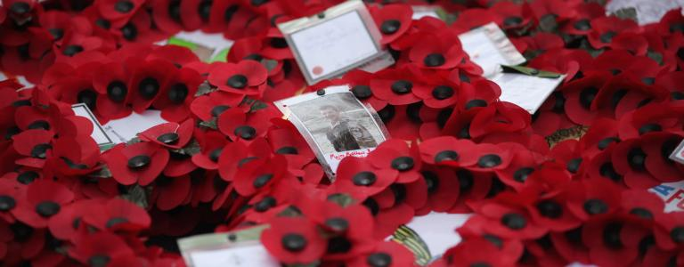 Wreaths lay at the foot of the Cenotaph after the Remembrance Day Sunday service.