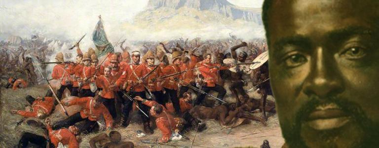 The Battle of Isandlwana painted by Charles Edwin Fripp, background and Zulu king, Cetshwayo, forground, painted by Karl Rudolf Sohn
