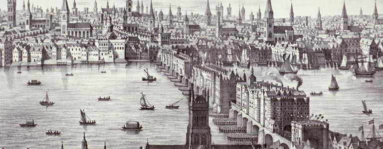 A 13th century drawing of London Bridge