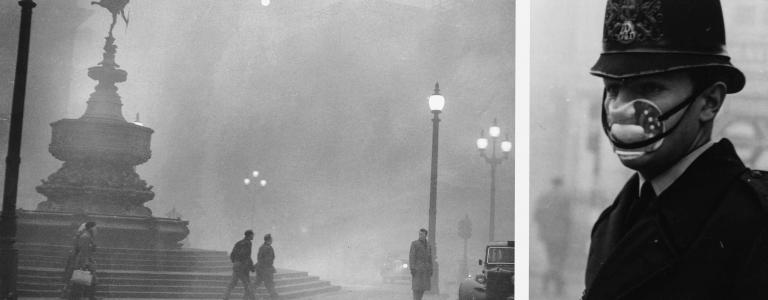 Heavy smog in Piccadilly Circus, London, 6th December 1952 (Getty).