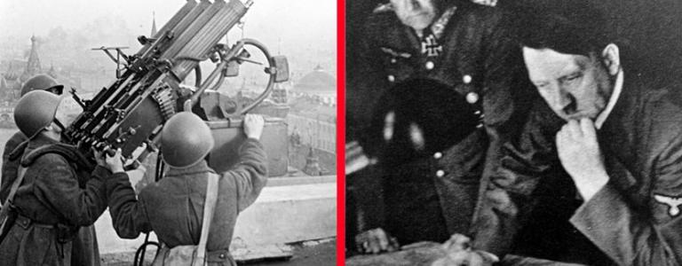 Left: Soviet anti-aircraft gunners on the roof of the Moskva. Right: Field Marshal Walther von Brauchitsch and Hitler study maps during the early days of Operation Barbarossa