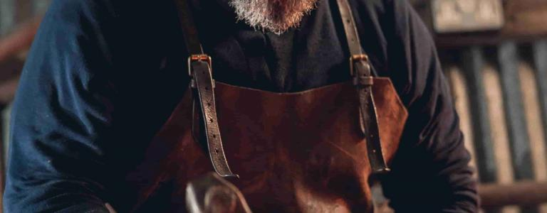 Forged in Britain's Owen Bush working at his forge