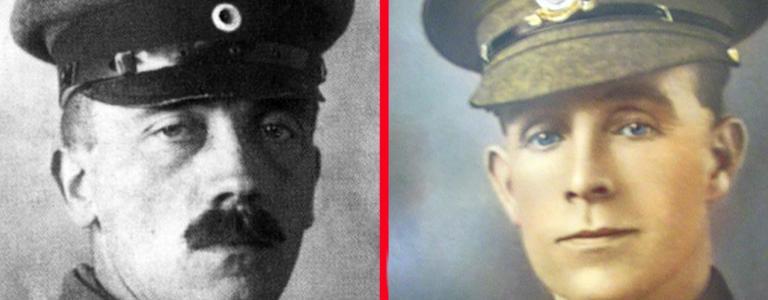 Left: Hitler in uniform 1921-1924 | Public Domain. Right: Pte Henry Tandey Victoria Cross | public display at the Duke of Wellington's Regimental Museum, Halifax