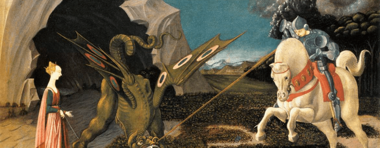 Saint George and the Dragon, by Paolo Uccello, c.1470 (left) and 17th-century Mughal painting of al-Khidr (right)